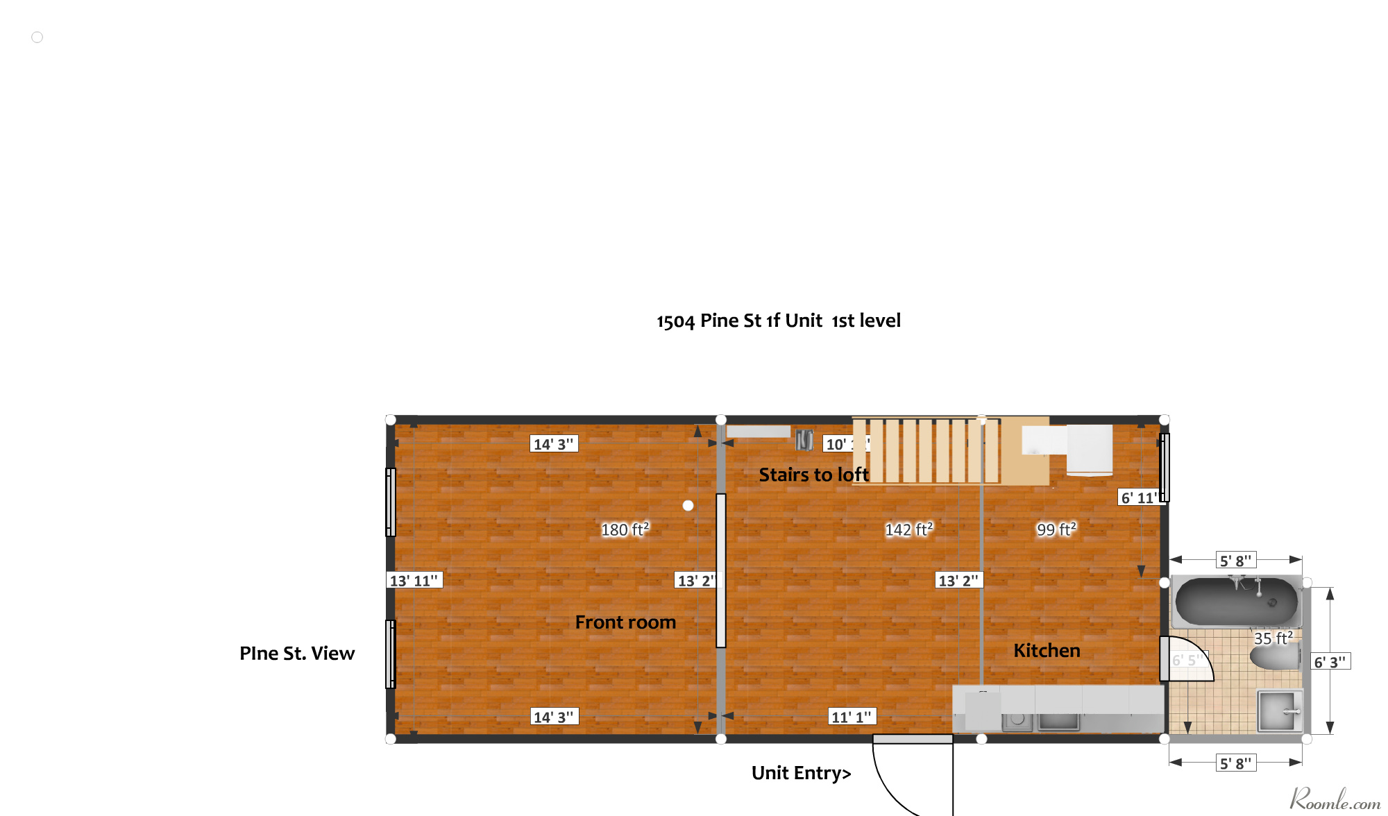 1504 Pine St. 1F Floor Plan